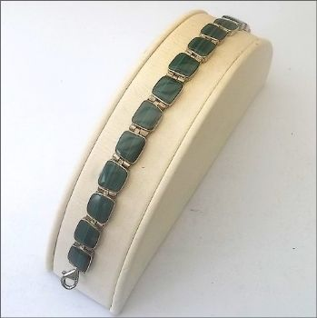Square Chilean Bracelet with Malachite